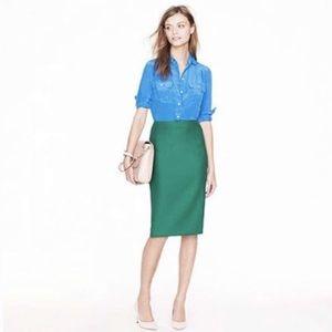 • J. Crew No. 2 Pencil Green Skirt Career •